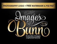 Professional photography logo, free watermark and PSD file, gold and silver…