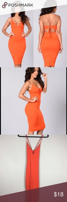 🧡 Orange Sexy Midi Bodycon Dress w/Crisscross Bac Fashion Nova Orange Midi Dress with Spaghetti Straps and Crisscross Back Which Ties in the Back Sexy and Form Fitting Bodycon V Neckline Soft Stretchy Material  Perfect for brunch or cocktails or Club Life Size Medium  New Without Tags in Perfect Condition Fashion Nova Dresses Midi