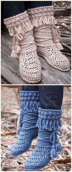 20 High Knee Crochet Slipper Boots Patterns to Keep Your Feet Cozy Crochet Mukluk Crochet Booties Paid Pattern- Crochet High Knee Crochet Slipper Boots Patrones Crochet Woman, Diy Crochet, Crochet Crafts, Crochet Projects, Crochet Slipper Boots, Crochet Slippers, Felted Slippers, Crochet Designs, Crochet Patterns