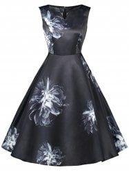 Vintage Floral Print Sleeveless Dress - BLACK