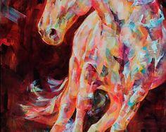 SPANISH BOY - PRINT - Whimsical Horse Print. Florecent Coral Art. - Edit Listing - Etsy