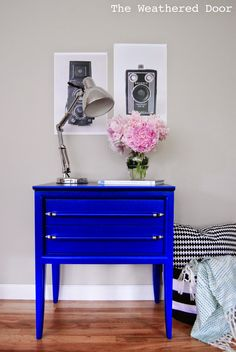 Klein Blue Mid Century Nightstands - The Weathered Door {I am in LOVE with this blue.}
