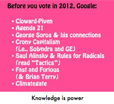 November 2012 is the most important election of our lifetime. Do your country a service and take an hour of your Internet fun time to research to following. Educate yourself. This is no longer about being a democrat or a republican. It's about doing the right thing for your country.