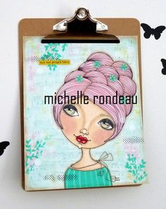Original Mixed Media Pink Hair Girl Painting Art Journal French Quote