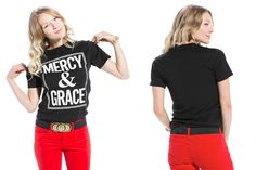 """Devotional Grace is defined as the undeserved favor of God. Think about how often we are undeserving of God's love and favor. The answer is """"always,"""" and that's what keeps us going. - See more at: http://blog.jcluforever.com/mercy-and-grace-unisex-christian-t-shirt/#sthash.ALN8oUff.dpuf"""