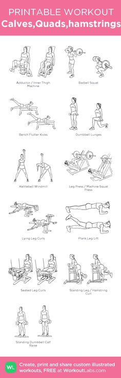 Calves,Quads,hamstrings · WorkoutLabs Fit - New Ideas Gym Workout Guide, Monday Workout, Leg Day Workouts, Butt Workout, At Home Workouts, Quads And Hamstrings, Calf Exercises, Hamstring Workout, Printable Workouts