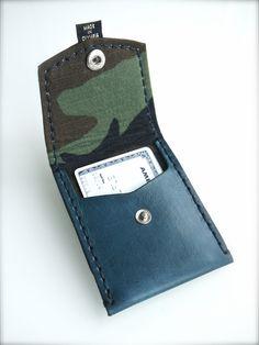 Blue Camo-lined Leather Pocket Wallet – XKv Fine Goods