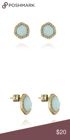 """Sand + Sky Stud Earrings Meet your new go-to studs. Set within a soft geometric silhouette, capture the perfect everyday-chic look with cool-blue semi-precious amazonite framed with sparkling light peach Swarovski crystal pavé. worn 12k gold-plated nickel-free plating 0.5"""" approx. width stainless steel post semi-precious amazonite, light peach Swarovski crystal pavé Chloe + Isabel Jewelry Earrings"""