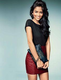 Shanina Shaik for Cosmopolitan Australia March 2013.  Tee : Just Jeans Skirt : Shilla Earrings : Diva Bracelet : Mimco Clutch : Mink Pink