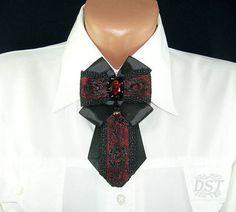 Брошь галстук ручной работы из репсовой ленты и кружева - брошь галстук