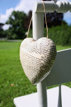 12 Hanging Hearts (3D) for Book Lovers - Book Page Wedding Aisle Decoration on Etsy, $100.00