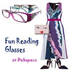 Reading glasses with our favorite designer dresses at Debspecs' blog