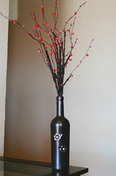 Handpainted Wine Botttle with Lite Branches by LovelyVines on Etsy, $20.00