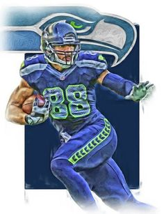 Jimmy Graham Print featuring the mixed media Jimmy Graham Seattle Seahawks Oil Art by Joe Hamilton