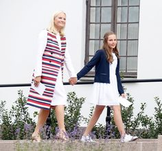 Crown Princes Mette-Marit and Princess Ingrid Alexandra of Norway as the Norwegian Royal Family pose for the celebration of Queen Sonja's 80th birthday on July 4, 2017 in Oslo.