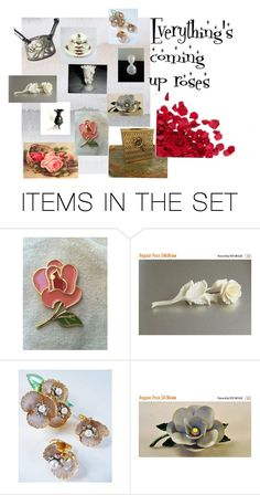 """""""Everything's coming up roses"""" by underlyingsimplicity ❤ liked on Polyvore featuring art, vintage and roses"""