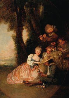 """Jean-Antoine Watteau """"La déclaration attendue"""" (The anticipated declaration) 18th century Angers, musée des Beaux-Arts"""