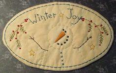 Primitive Stitchery PATTERN Snowman WInter Joy by thetalkingcrow, $3.00