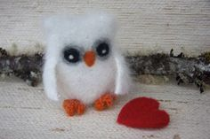 Angora White Fluffy Eco-Friendly Plush Baby Owl (1) with Red Felt Heart Love Anniversary (woolcrazy)