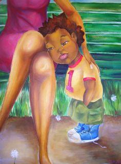 children in art I Love Being Black, Black Love Art, African American Artwork, African Art, African Paintings, Caricatures, Black Artwork, Afro Art, Female Art