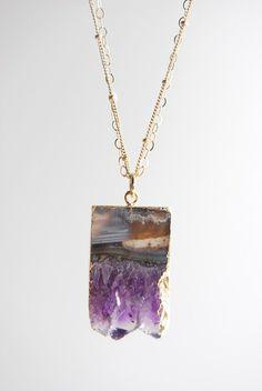 """kaiaka necklace"", gold + amethyst slice pendant necklace."