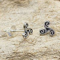 Discover unique handcrafted treasures. Every purchase will help UNICEF save and improve children's lives and help support talented artisans. Sterling silver stud earrings, 'Celtic Spiral'