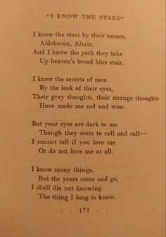 """""""I know the stars"""" Sara Teasdale This is one of my favorite poems cause I live with this question and I probably always will Poem Quotes, Words Quotes, Life Quotes, Space Quotes, Sayings, Pretty Words, Beautiful Words, You Are My Moon, Def Not"""