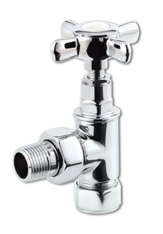 """Selene traditional cross head chrome radiator valves suitable for all radiators and particularly stylish when combined with towel rails. Best quality chrome & metal head valves. Supplied as 15mm x 1/2"""" BSP only. Valves sold as pairs. Both ANGLED & STRAIGHT pattern valves available - please choose via drop down box. If fitting to a towel rail - if your pipework is coming from the floor choose straight pattern valves, and if from the wall choose angled pattern valves. Priced at £19.50!"""