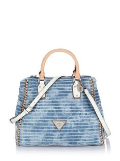 Amelle  Retro Satchel Striped Denim Bag