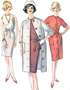 1960s Dress Pattern Simplicity 4845 Belted Sheath Dress Collarless Coat Womens Vintage Sewing Pattern Bust 34 Uncut