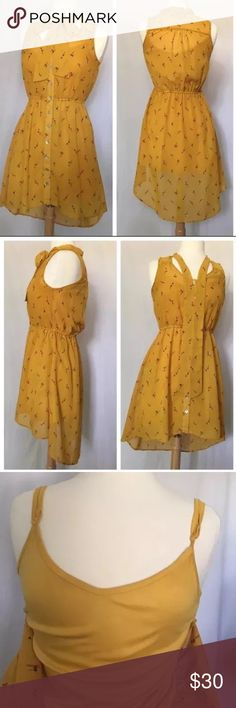 NWOT American Rag High Low Dress Size S NWOT American Rag High Low Dress Size Small, Yellow with Pattern, Fully Lined, Lining has Adjustable Straps, Full Button Down, New Condition, Elastic Waist American Rag Dresses High Low