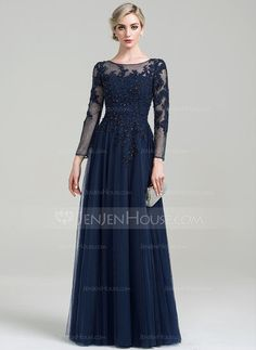 A-Line/Princess Scoop Neck Floor-Length Beading Sequins Zipper Up Sleeves Long Sleeves No Dark Navy Spring Summer Fall General Plus Tulle Evening Dress