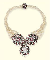 AN ANTIQUE RUBY, DIAMOND AND PEARL NECKLACE. The ruby, diamond and blister pearl wreath pendant suspended from two openwork floral circular panels to the graduated eight-row pearl necklace, mounted in silver and gold, in closed back setting, circular panels late 18th century.