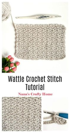 Learn how to crochet the Wattle Crochet Stitch with this complete photo & video tutorial!  A simple one-row repeat that uses basic stitches making this a beginner friendly stitch for a stitch with gentle texture!  So fun - perfect for on the couch movie watching crochet night fun!  Part of the Spring Rhapsody Blanket CAL stitch tutorial series.  #nanascraftyhome #crochet #crochetstitch #crochettutorial #springrhapsody