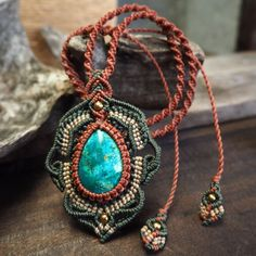 Macrame Necklace Pendant Cabochon Chrysocolla Stone Waxed Cord Handmade #Handmade #Pendant