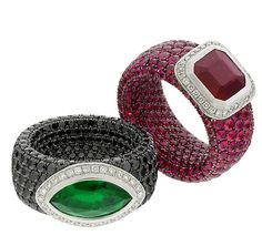 Avakian emerald and ruby rings, which are even set with stones on the inside of the ring.