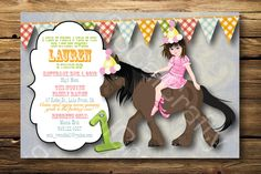 Cowgirl Horse Theme- Birthday Party Invitation