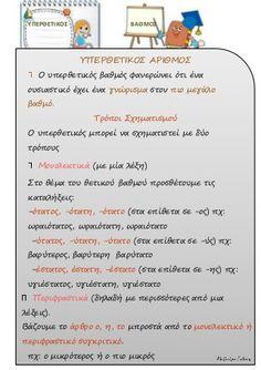 οι βαθμοι του επιθετου Greek Language, Kids Corner, Special Education, Grammar, Teacher, Learning, School Stuff, School, Professor