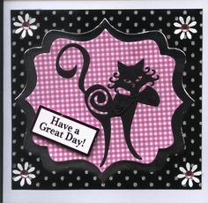 Tattered Lace Cat Happy Birthday Card Pink Black and White