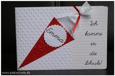 Einladungen zur Einschulung, gestaltet mit einer Schultüte und Namen des Schulkindes. Die Beschriftung der Karte kann ganz nach euren Wünschen gestaltet werden. Ich kann die Einladungen auch in...