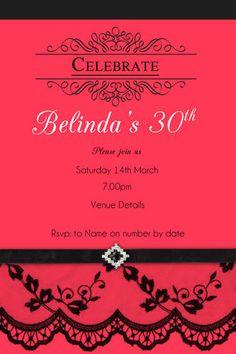 Ladies 30th Birthday Invitation