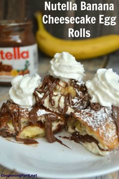 Here is a recipe that is delicious, decadent and not too tough to make! You can make these Nutella Banana Cheesecake Egg Rolls for dessert, a sweet breakfast or any special occasion. Someone is going . Mini Desserts, No Egg Desserts, Best Dessert Recipes, Easy Desserts, Delicious Desserts, Cake Recipes, Cookbook Recipes, Christmas Desserts, Christmas Recipes