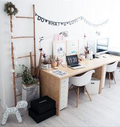 """528 curtidas, 4 comentários - DIY Home 🏡 (@diyhomebr) no Instagram: """"Inspiração para home office compartilhado. Várias inspirações que você pode reproduzir na sua casa.…"""""""