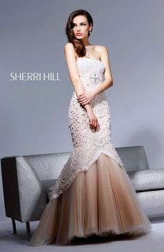 Sherri Hill, Ivory/Nude, sz 4. Facebook message us at Shop Dazzles, or call us at 803-787-8880 for details! Store Hours: Tues -Fri 11-7, Sat 10:30-4:30.  Located in Columbia, SC.