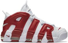 NIKE AIR MORE UPTEMPO VARSITY RED. #nike #shoes 2pac Images, Air Max Sneakers, Sneakers Nike, Nike Outfits, White Style, Me Too Shoes, Red Leather, Nike Men, Nike Air Max