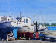 Menorcan Boatyard (watercolor by Brian Robinson)