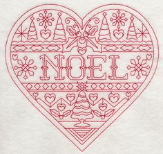 Noel Christmas Heart (Redwork)
