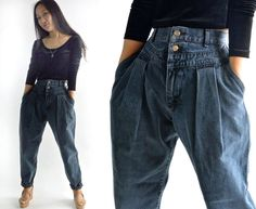 80s High Waisted Jeans LEE Jeans Unique Yoke Front Harem Jeans Womens Jeans Dark Wash Jeans Tapered