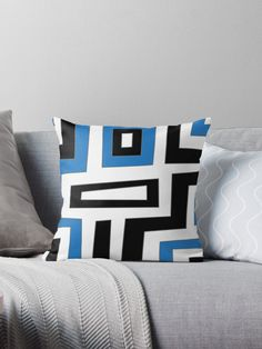 Features Vibrant double-sided print throw pillows to update any room Independent designs, custom printed when you order Soft and durable Spun Polyester cover with an optional Polyester fill/insert Concealed zip opening for a clean look and easy care Floor Pillows, Bed Pillows, Unique Presents, Unique Gifts, Navy Blue, Blue And White, Geometric Shapes, Pillow Covers, Blue Cross