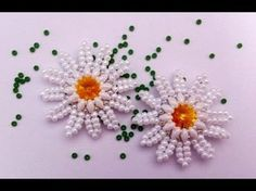 Marguerite earrings with superduos, rivoli & seed beads. ~ Seed Bead Tutorials